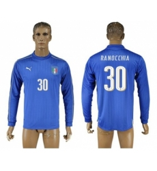 Italy #30 Ranocchia Blue Home Long Sleeves Soccer Country Jersey