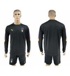 Italy Blank Black Long Sleeves Goalkeeper Soccer Country Jersey