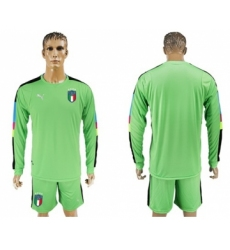 Italy Blank Green Long Sleeves Goalkeeper Soccer Country Jersey