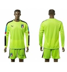 Italy Blank Shiny Green Long Sleeves Goalkeeper Soccer Country Jersey