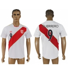 Peru #9 Guerrero Home Soccer Country Jersey