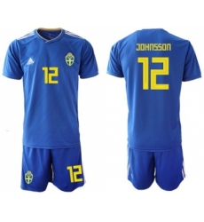 Sweden #12 Johansson Away Soccer Country Jersey