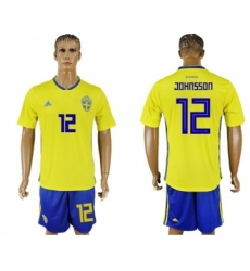 Sweden #12 Johnsson Home Soccer Country Jersey