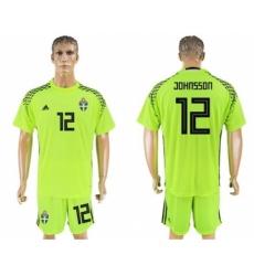 Sweden #12 Johnsson Shiny Green Goalkeeper Soccer Country Jersey