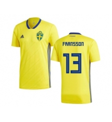 Sweden #13 Fransson Home Soccer Country Jersey