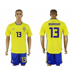 Sweden #13 Johansson Home Soccer Country Jersey