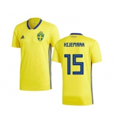 Sweden #15 Hijemark Home Soccer Country Jersey