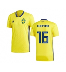 Sweden #16 Hijemark Home Soccer Country Jersey