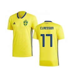 Sweden #17 Claesson Home Soccer Country Jersey
