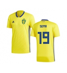 Sweden #19 Sema Home Soccer Country Jersey