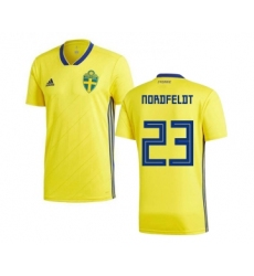 Sweden #23 Nordfeldt Home Soccer Country Jersey