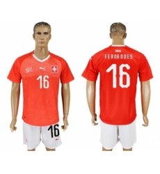 Switzerland #16 Fernandes Red Home Soccer Country Jersey