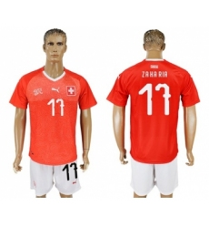 Switzerland #17 Zakaria Red Home Soccer Country Jersey