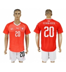 Switzerland #20 Fernandes Red Home Soccer Country Jersey