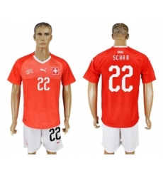 Switzerland #22 Schar Red Home Soccer Country Jersey