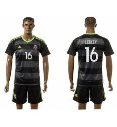 Wales #16 Ledley Black Away Soccer Club Jersey