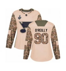 Women's St. Louis Blues #90 Ryan O'Reilly Authentic Camo Veterans Day Practice 2019 Stanley Cup Final Bound Hockey Jersey