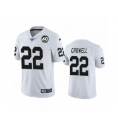 Women's Oakland Raiders #22 Isaiah Crowell White 60th Anniversary Vapor Untouchable Limited Player 100th Season Football Jersey