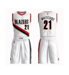Men's Portland Trail Blazers #21 Hassan Whiteside Swingman White Basketball Suit Jersey - Association Edition