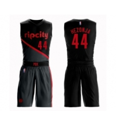 Men's Portland Trail Blazers #44 Mario Hezonja Swingman Black Basketball Suit Jersey - City Edition
