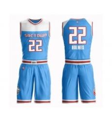 Men's Sacramento Kings #22 Richaun Holmes Authentic Blue Basketball Suit Jersey - City Edition