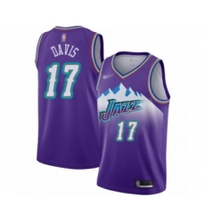 Men's Utah Jazz #17 Ed Davis Authentic Purple Hardwood Classics Basketball Jersey