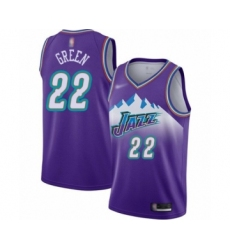 Men's Utah Jazz #22 Jeff Green Authentic Purple Hardwood Classics Basketball Jersey