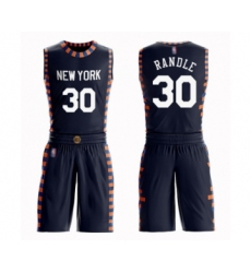 Men's New York Knicks #30 Julius Randle Swingman Navy Blue Basketball Suit Jersey - City Edition