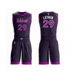 Men's Minnesota Timberwolves #29 Jake Layman Swingman Purple Basketball Suit Jersey - City Edition