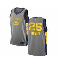 Youth Memphis Grizzlies #25 Miles Plumlee Swingman Gray Basketball Jersey - City Edition