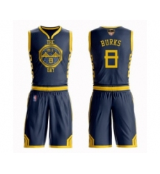 Youth Golden State Warriors #8 Alec Burks Swingman Navy Blue Basketball Suit Jersey - City Edition