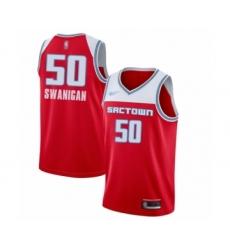 Men's Sacramento Kings #50 Caleb Swanigan Swingman Red Basketball Jersey - 2019-20 City Edition