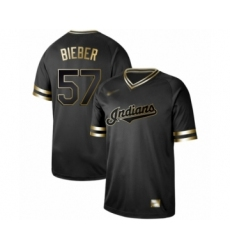 Men's Cleveland Indians #57 Shane Bieber Authentic Black Gold Fashion Baseball Jersey
