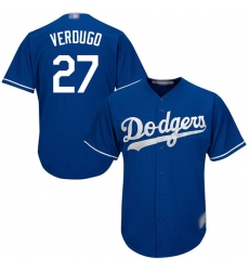 Men's Los Angeles Dodgers #27 Alex Verdugo Blue New Cool Base Stitched Baseball Jersey