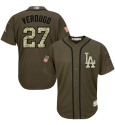 Men's Los Angeles Dodgers #27 Alex Verdugo Green Salute to Service Stitched Baseball Jersey