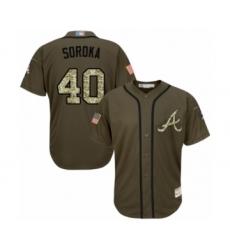 Youth Atlanta Braves #40 Mike Soroka Authentic Green Salute to Service Baseball Jersey