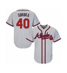 Youth Atlanta Braves #40 Mike Soroka Authentic Grey Road Cool Base Baseball Jersey