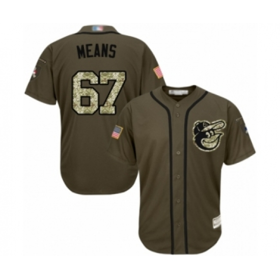 Men's Baltimore Orioles #67 John Means Authentic Green Salute to Service Baseball Jersey