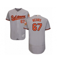 Men's Baltimore Orioles #67 John Means Grey Road Flex Base Authentic Collection Baseball Jersey