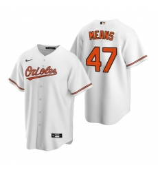 Men's Nike Baltimore Orioles #47 John Means White Home Stitched Baseball Jersey