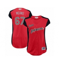 Women's Baltimore Orioles #67 John Means Authentic Red American League 2019 Baseball All-Star Jersey