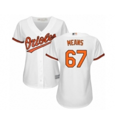 Women's Baltimore Orioles #67 John Means Authentic White Home Cool Base Baseball Jersey