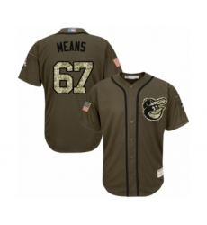 Youth Baltimore Orioles #67 John Means Authentic Green Salute to Service Baseball Jersey