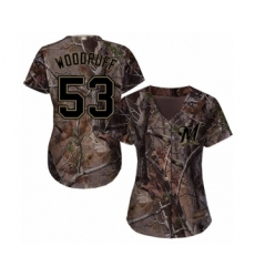 Women's Milwaukee Brewers #53 Brandon Woodruff Authentic Camo Realtree Collection Flex Base Baseball Jersey