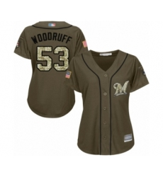 Women's Milwaukee Brewers #53 Brandon Woodruff Authentic Green Salute to Service Baseball Jersey