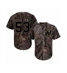 Youth Milwaukee Brewers #53 Brandon Woodruff Authentic Camo Realtree Collection Flex Base Baseball Jersey