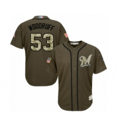 Youth Milwaukee Brewers #53 Brandon Woodruff Authentic Green Salute to Service Baseball Jersey