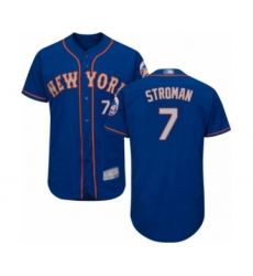 Men's New York Mets #7 Marcus Stroman Royal Gray Alternate Flex Base Authentic Collection Baseball Jersey