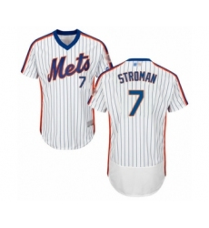 Men's New York Mets #7 Marcus Stroman White Alternate Flex Base Authentic Collection Baseball Jersey