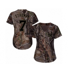 Women's New York Mets #7 Marcus Stroman Authentic Camo Realtree Collection Flex Base Baseball Jersey
